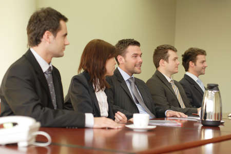 Conference, group of 5 business people sitting at the big table Stock Photo - 812892