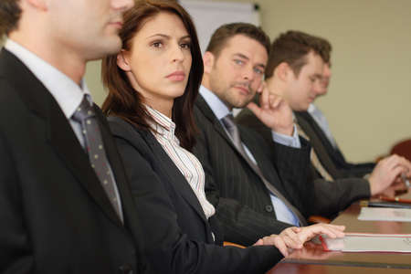 Conference, group of 5 business people sitting at the big table Stock Photo - 812901