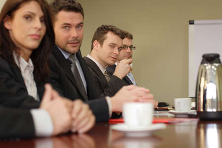 Conference, group of 5 business people sitting at the big table  Stock Photo - 809581