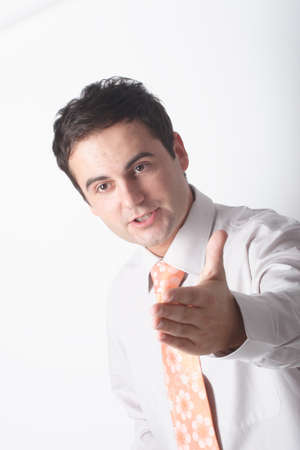 white business man pointing at somebody with hand