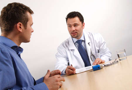 physician: male patient and doctor talking