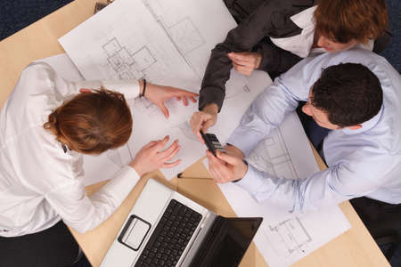 architect plans: calculating cost Stock Photo