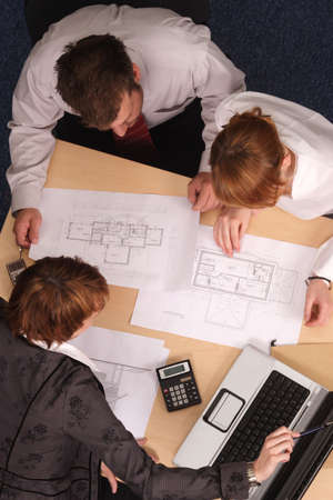 architect,clients,blueprints Stock Photo