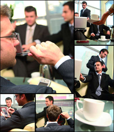 this is business group networking themed collage - interaction,thinking,cooperation photo