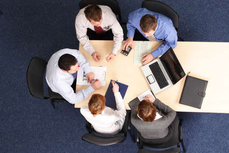 administrative: edificio de la gente de negocios de estrategia -5 reuni�n Foto de archivo