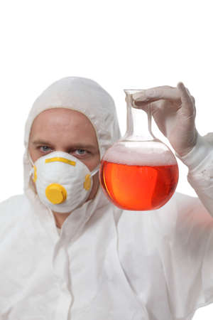 new hope  - scientist holding glass flask with liquid photo