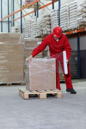 wraps: trabajador envolvimiento cuadro de paletas de madera en almac�n