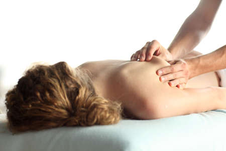 woman relaxing while getting a back massage Stock Photo - 7716202