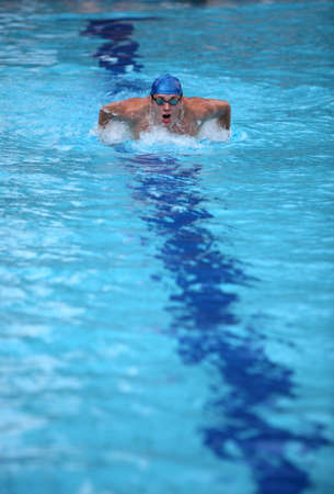 dynamic swimmer in swimming pool photo