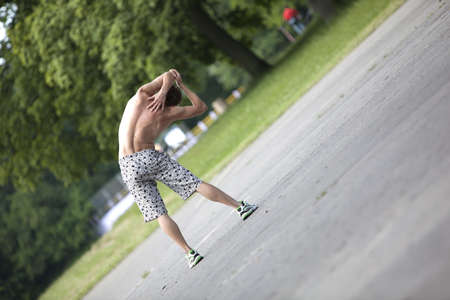 Shirtless man stretching before running Stock Photo - 7955333