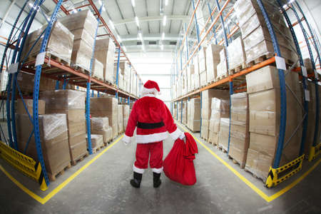 lonely Santa Claus in Gifts Distribution Center photo