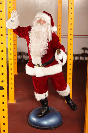lively Santa Claus fitness training photo