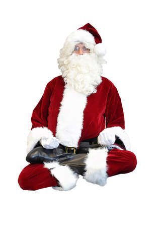 Santa Claus floating in lotus position on white background photo