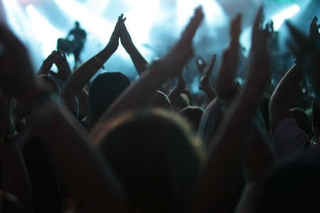 people clapping: clapping crowd at the concert, rear view