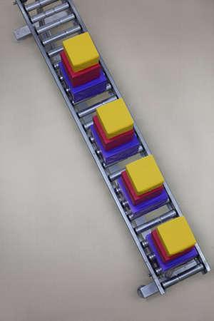 conveyor belt: boxes on conveyor belt in Christmas gifts factory