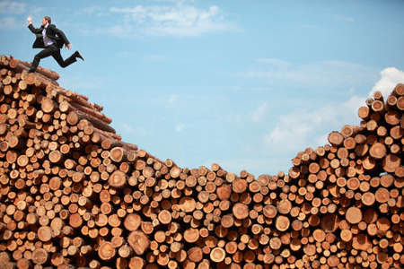 meta: mission accomplished - running  business man on top of large pile of logs