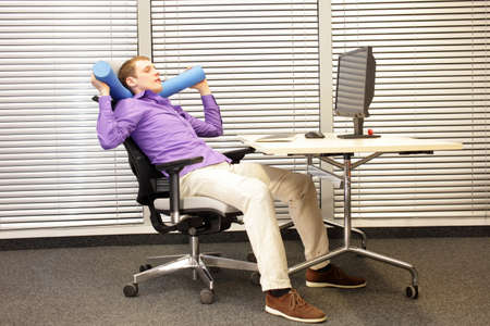 human factors: relax in office work - man at working station