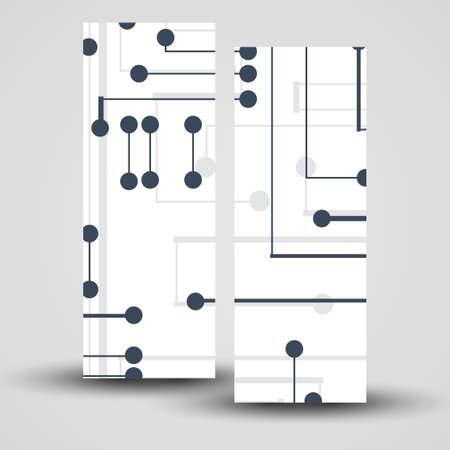 banner set for your design, circuit board Illustration. Vector