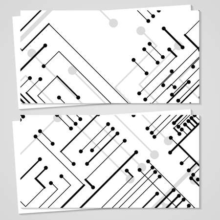 Vector business-card  set for your design, circuit board Illustration.