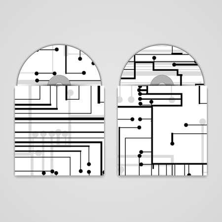 substrate: Vector cd cover set para el dise�o, la ilustraci�n de la tarjeta de circuitos. Vectores