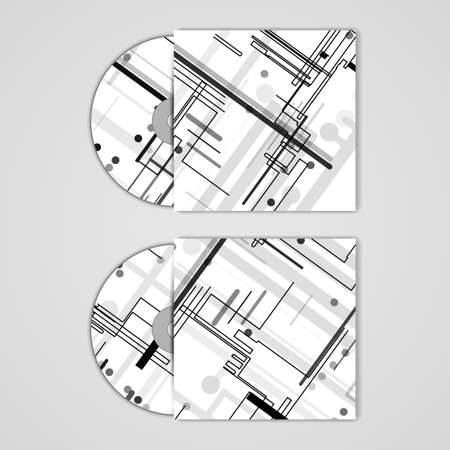 Vector cd cover  set for your design, circuit board Illustration.