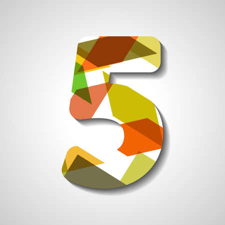 big five: abstract  illustration, number collection - 5 Illustration