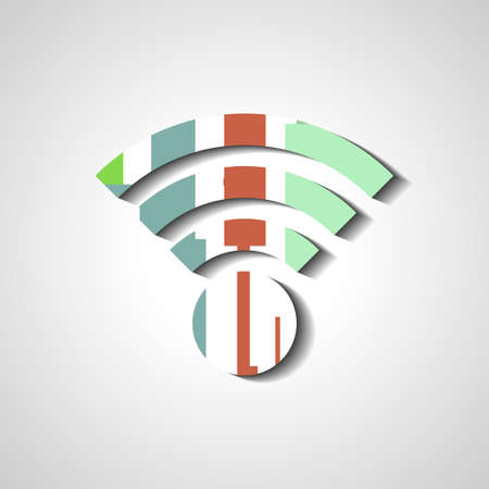 wireless network: S�mbolo de la red inal�mbrica, ilustraci�n estilo abstracto Vectores