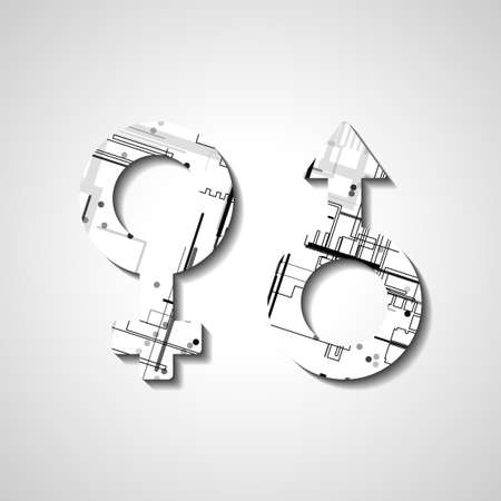 Male and female gender symbols, style illustration Vector