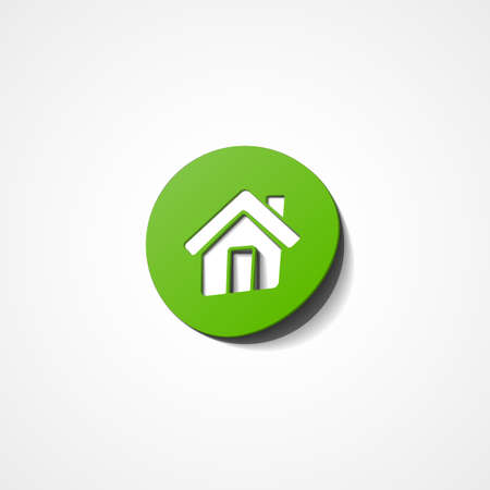 Green home web icon on white background Vector
