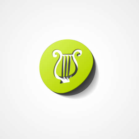 lyra: Illustration of lyre web icon on white background
