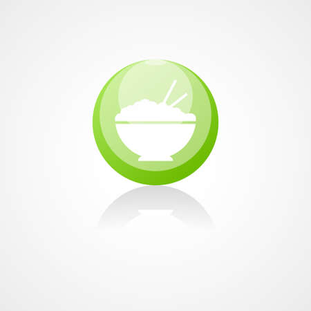 ingestion: Rice in plate web icon Illustration