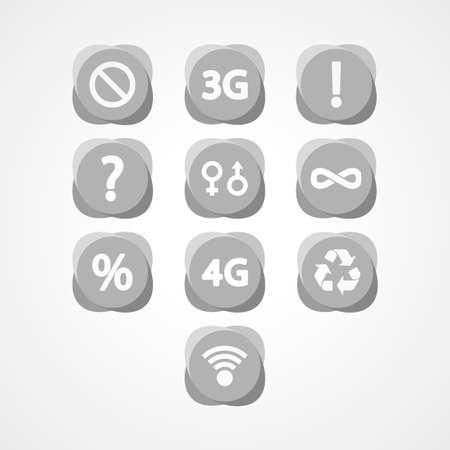 broadband: symbols set web icon Illustration