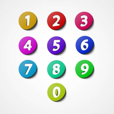 numbers icon: Numbers set, colorful web icon Illustration