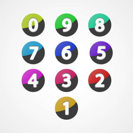 Numbers set, colorful web icon Vector