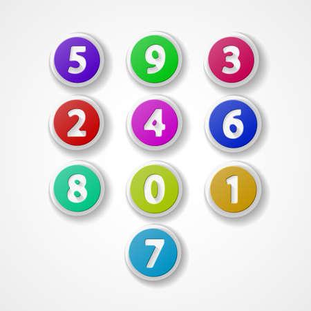 web 2 0: Numbers set, colorful web icon Illustration