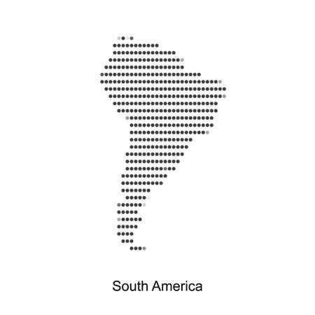 Carte pointillé de l'amérique du sud pour votre conception