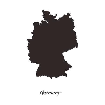 humanism: Black map of Germany for your design Illustration