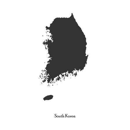 dictature: Carte en noir de la Cor�e du Sud pour votre conception