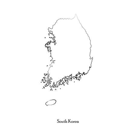 delineation: Map of South Korea for your design Illustration