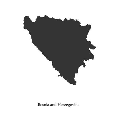 bosnia: Black map of Bosnia and Herzegovina for your design, concept Illustration.