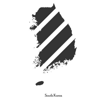 dictatorship: Black map of South Korea for your design