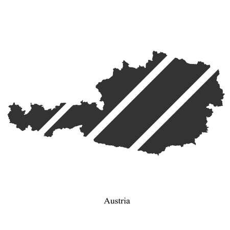 tirol: Black map of Austria for your design