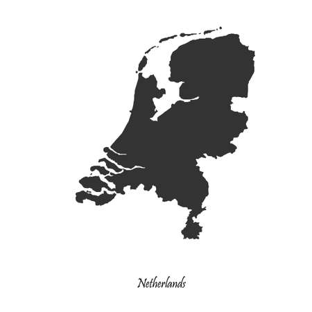 Black map of Netherlands for your design