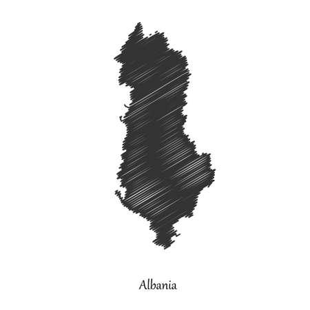 albania: Albania map icon Illustration.