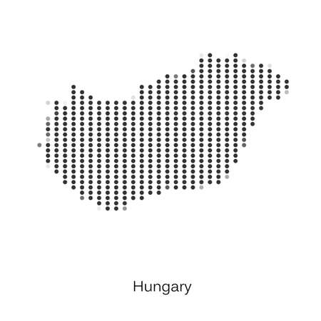 Dotted map of Hungary for your design, concept Illustration.