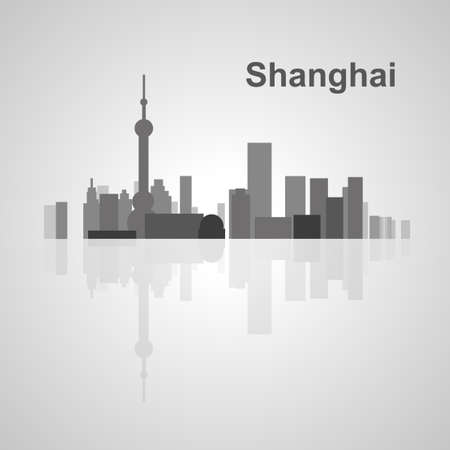 east river: Shanghai skyline  for your design, concept Illustration. Illustration