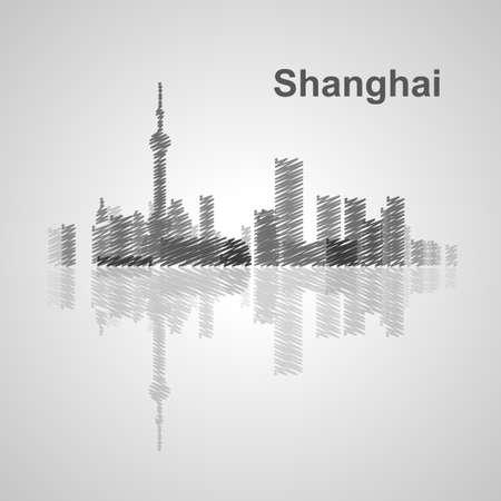 east river: Shanghai skyline  for your design, concept Illustration. Illustration