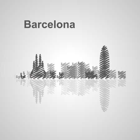 Barcelona skyline  for your design, concept Illustration.