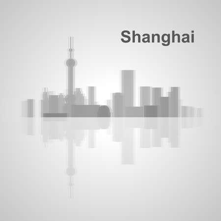 Shanghai skyline  for your design, concept Illustration. Stock Illustratie