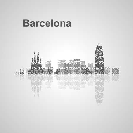 디자인, 컨셉 일러스트 바르셀로나 스카이 라인.